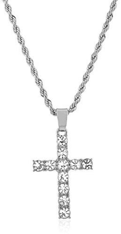 Men's Cross Micro Pendant Necklace with 24.5 Inch Rope Chain - Available in Goldtone or Silvertone