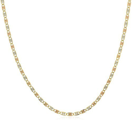 "Real 14k Gold Three-Tone 2mm Valentino Chain - 16"" to 24"""