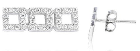 Sterling Silver Stud Earrings Triple Mini Square with CZ Stones