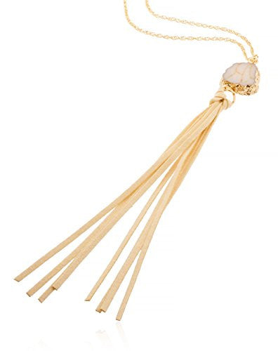 Goldtone Long Rope Necklace with Faux...