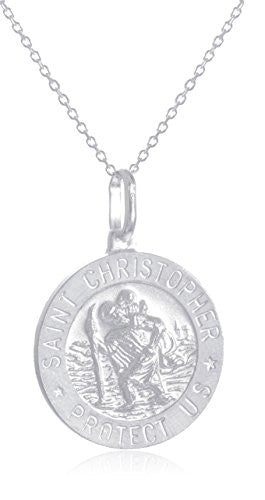 925 Sterling Silver Saint Christopher Protect Us Round Pendant with an 18 Inch Link Necklace - Available in Small, Medium and Large Size Pendant (Medium)