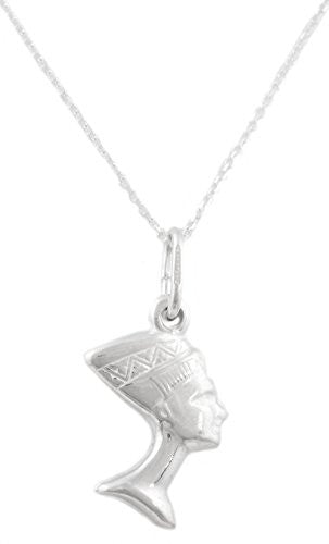 925 Italy Sterling Silver Dangling Nefertiti 18 Inch Link Necklace