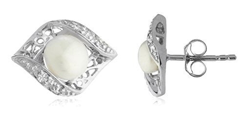 Sterling Silver Stud Earrings Simulated Pearl Eye Shaped with Stones