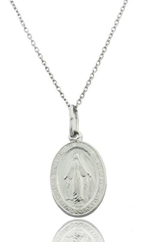 925 Rhodium Plated Silver Medium Mother Mary Miracle Charm with an 18 Inch Link Necklace