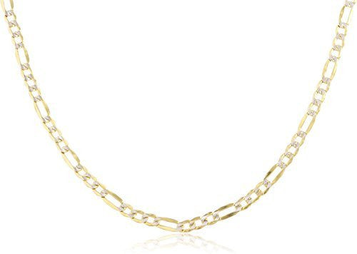 "10k Yellow Gold 2.4mm Pave Figaro Chain - 16"" to 24"" Available"