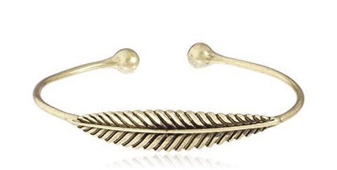 Leaf Style Cuff Bangle - Available in Goldtone and Silvertone