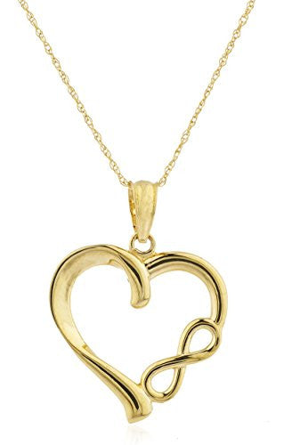 10k Yellow Gold Heart with Infinity Pendant with an 18 Inch Singapore Necklace