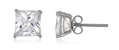 925 Sterling Silver Cz Square Basket Setting Stud Earrings (rhodium-plated-silver, 7 Millimeters)