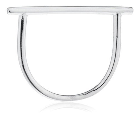 925 Sterling Silver Basic Horizontal Bar Finger Ring