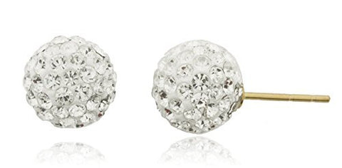 14K Yellow Gold with White 8mm Preciosa Crystals Stud Earrings