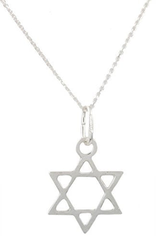 925 Italy Sterling Silver Jewish Star Pendant with an 18 Inch Link Necklace