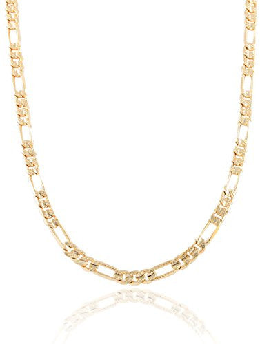 Goldtone 5mm Frosted Figaro Chain (8...
