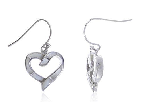 925 Sterling Silver Created Opal Open Heart Dangle Earrings (White)
