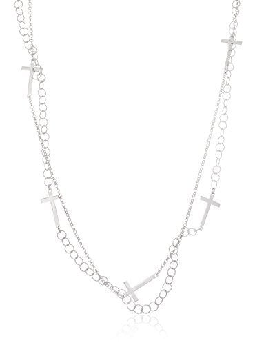 925 Sterling Silver Double Layer Multi Crosses on a 48 Inch Link Necklace