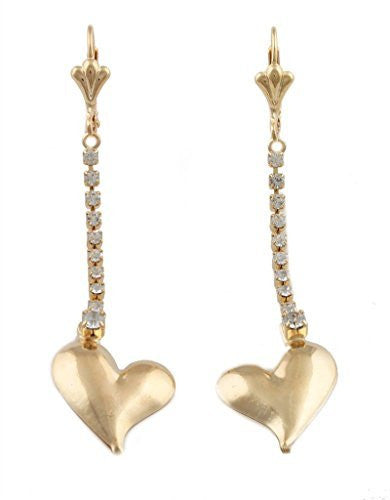 Two Year Warranty Gold Overlay Iced Out Curved Heart & Stones 2.5 Inch Dangle Earrings