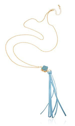 Goldtone Long Rope Necklace with Faux Leather Tassel - 3 Available Colors