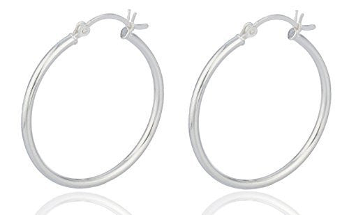 Sterling Silver Hoop Earrings 2mm (30 Millimeters)
