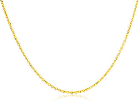 10K Yellow Gold 1.5mm Solid D-cut Rolo Chain Necklace 20inch