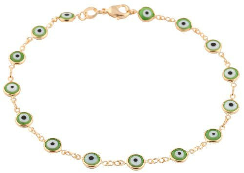 Two Year Warranty Gold Overlay with Green Mini Evil Eye Style 10 Inch Anklet