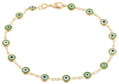 Gold Overlay With Green Mini Evil Eye Anklet