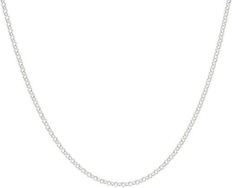 "925 Sterling Silver 2.1mm Belcher Bead Rolo Chain - 18"" 20"" 24"" Available"