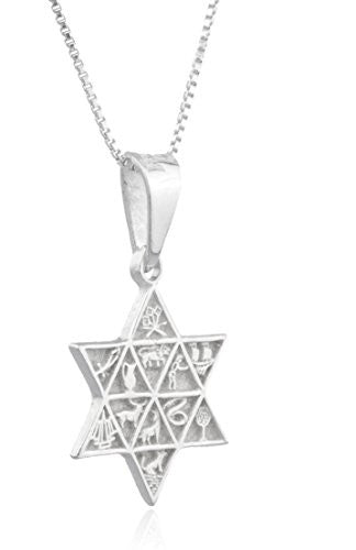 925 Sterling Silver Jewish Star with...