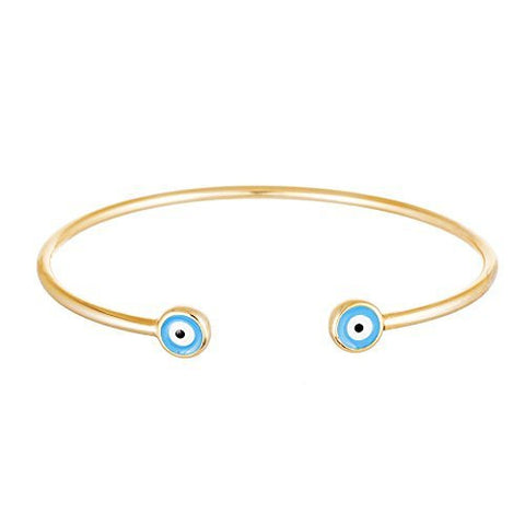 Double Mini Evil Eye Cuff Bracelet