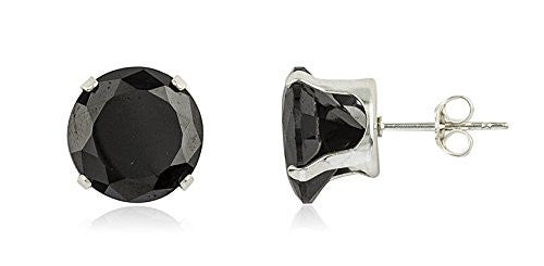 925 Sterling Silver with Black Round...