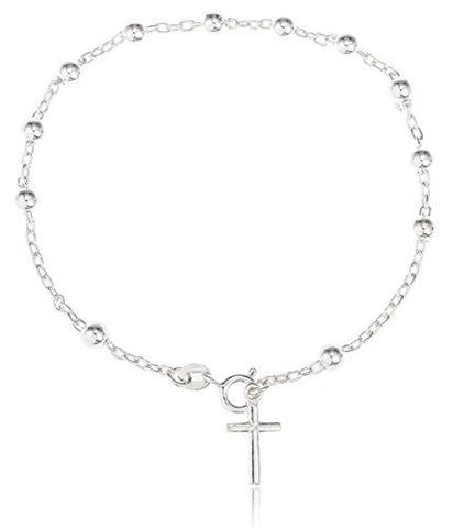 Sterling Silver Link Chain Bracelet 4mm 7-8 Inch Adjustable Metal Ball with Mini Cross Charm