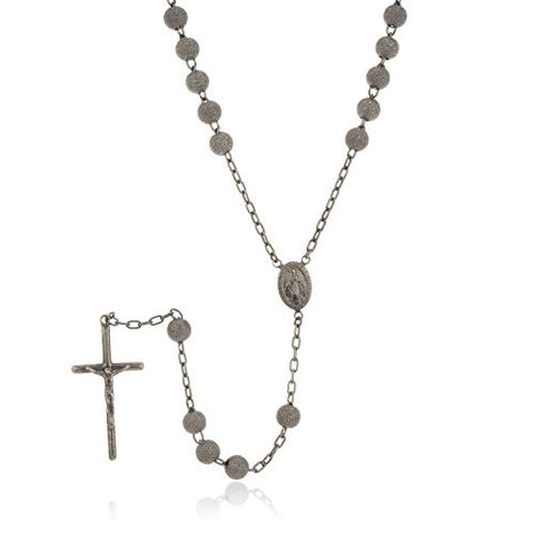925 Sterling Silver 7mm 32 Inch Hematite Frosted Sandblast Beaded Rosary Necklace with Dangling Cross