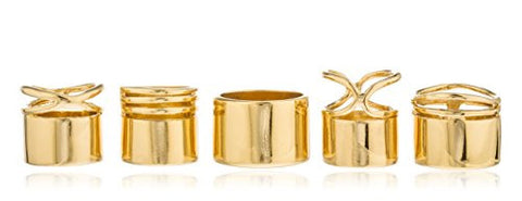 Goldtone Multi Stacked Simple Midi & Finger Ring Set