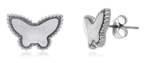 Stainless Steel Silvertone Butterfly Enamel Stud Earrings