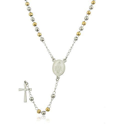 Two Tone Stainless Steel Jesus Piece Cross with Mother Mary Charm and 3mm 21 Inch Rosary Chain