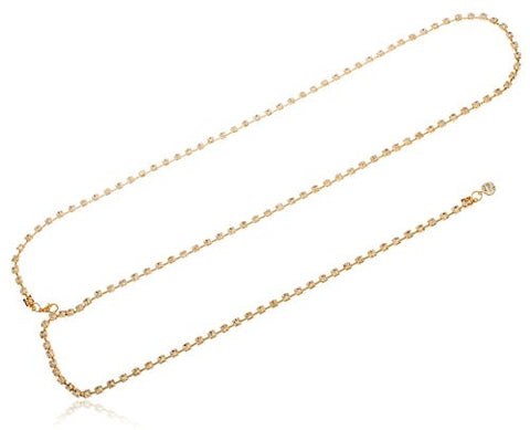 Goldtone Adjustable Length Box Links with Clear Stones Belt Chain