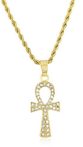 Ankh Cross Micro Pendant Necklace with 24.5 Inch Rope Chain - Available in Goldtone or Silvertone