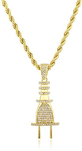Goldtone Iced Out Plug Pendant with a 30 Inch Rope Chain Necklace