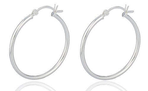 Sterling Silver Hoop Earrings 2 Inch