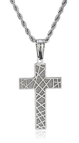 Stainless Steel Goldtone Sandblast Design Cross Pendant with 24 Inch Rope Chain (Goldtone)