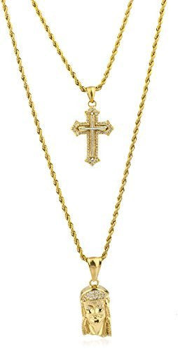 Stainless Steel Goldtone Layered Micro Cross & Jesus Head Pendant Rope Necklace