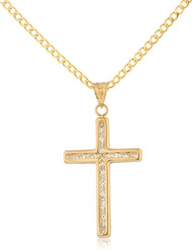14k Yellow Gold Cross Pendant with...