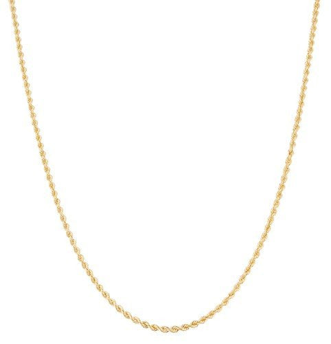 10k Yellow Gold Solid D-cut Rope Chain Necklace 1.5mm - 2.5mm