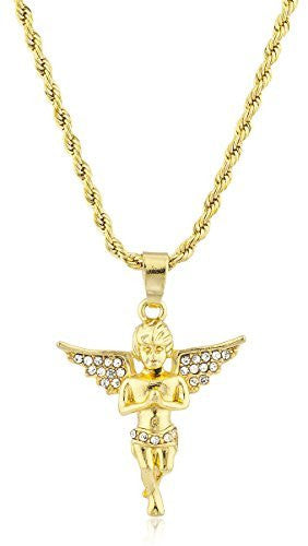 Men's Angel Micro Pendant Necklace with 24.5 Inch Rope Chain - Available in Goldtone or Silvertone