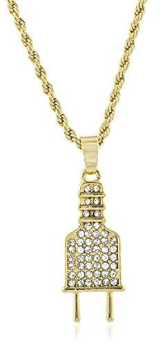 Men's Electric Plug Micro Pendant Necklace with 24.5 Inch Rope Chain - Available in Goldtone or Silvertone
