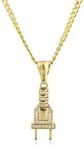 Stainless Steel Goldtone Small Plug Pendant with 24 Inch Cuban Chain