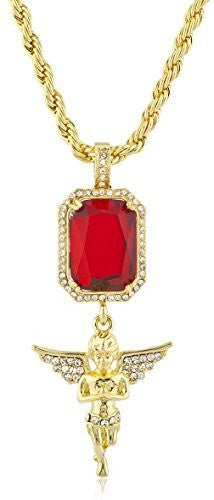 Goldtone Iced Out Simulated Gemstone & Micro Angel Pendants with 24.5 inch Rope Necklace - Available in Red & Black