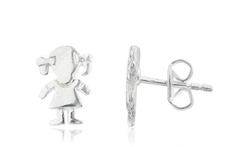 Sterling Silver Stud Earrings 7mm Girl with Pig Tails Children's
