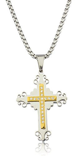 Large Stainless Steel Two-tone Ancient Double Cross Pendant with Stones and a 24 Inch Round Box Chain Necklace