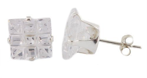 Ladies Sterling Silver Stud Earrings 9mm Cubic Zirconium Square Four Prong 9 Cut