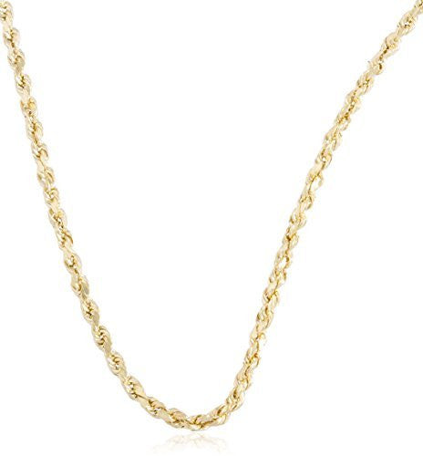 14K Yellow Gold Solid D-cut Rope Chain Necklace, 2mm - 3mm