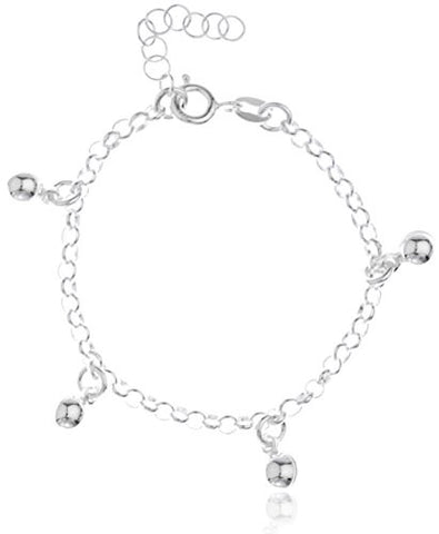925 Sterling Silver Round Ball Charms Adjustable 6 Inch Baby Bracelet